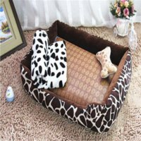 Wholesale 6 Colors Leopard Lattice Elegant Dog Houses Removable Pet cat Bed High Grade Cotton For Large Dog cat Kennel b104
