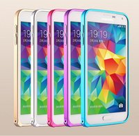 Wholesale New Protect phone cases Ultra thin Aluminum Metal Bumper Frame for Samsung Galaxy S5 Note Golden Sliver Rose Red Blue colors