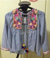 Wholesale Vintage ZA Ethnic Colorful Floral Flower Embroidery Striped Cardigan Outwear Jacket Tassel Bell Beading Casual Coat Sunscreen