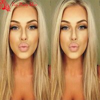 ash hair bleach - Cheap Hot Blonde Wigs Glueless A Grade Best Straight Blonde Wig Unprocessed Human Hair Ash Blonde Wig Straight For Women Bleached Knots