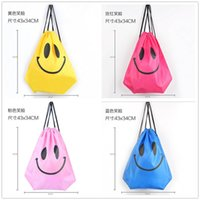 Wholesale fashion Cute Emoji Drawstring Bags for Women Mens Children Cartoon Unisex Emoji Backpacks Fashion Smile Printed Student bags D763