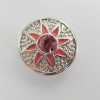 Cheap New Development 2016 SMALL SIZE Free Shipping 12MM Metal Ginger Snap Button With Light Pink Rhonestone 10pcs Lot