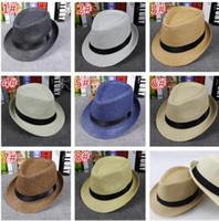 Wholesale 50pcs fashion Men Women Straw Hats Soft Fedora Panama Hats Outdoor Stingy Brim Caps Colors Choose D757