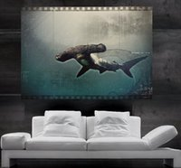 amazing sharks - Amazing Fish Hammerhead Shark Diving into the Deep Ocean Journey Poster print wall art parts huge Poster print art NO19