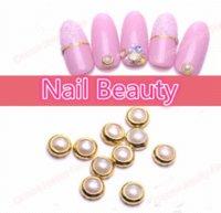 Wholesale 4mm Nail Beauty Nail Art Gold Metal pearl White Alloy Nail Art Glitter Rhinestone Studs Stickers Decoration
