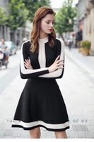 Wholesale fall winter women s knitted dress with lace street style long sleeve women skirt fashion