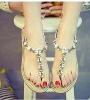 beautiful women thongs - 2016 summer new Korean women beautiful beaded flat sandals fashion beaded thong sandals