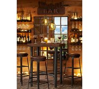bar chair support - American Village Bar Cafe Retro style imitation rust do the old wrought iron bar chairs tables supporting