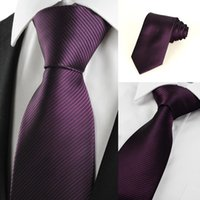 Wholesale New Striped Plum Purple Men s Tie Formal Suit Necktie Wedding Holiday Gift