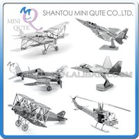 Wholesale DHL Piece Fun D War vehicle plane Fokker D VII F Eagle F Raptor F4U Corsair Metal Puzzle adult models educational toy