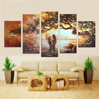 wall decor art canvas - Handmade set Paintings On Canvas Art Oil Painting Abstract love Pictures Sunrise Wall Picture Home Decor For Living Room