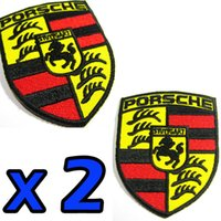 Wholesale 2 x PORSCHE STUTTGART Germany Advertising Embroidered Iron on Patch Sport Racing free ship