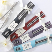 artistic schools - 22 cm Stainless Steel Travel Chopsticks in Artistic Sleeve wedding party favor gift Home Supplies DHL