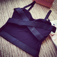 Wholesale Simplee Apparel Hollow Out Sexy Cross Bustier Crop Top Cotton Bralette Women Tops Backless Sport Tank Tops Camis Cross Camisole