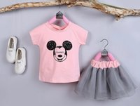 baby settings - Girls Pieces Cute Minne Set Short Sleeveless T Shirt Plaid Shorts Girls Suit Baby Girls New Cartoon Settings New Summer