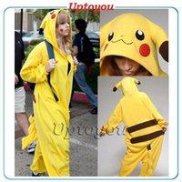 Wholesale Lovely Pikachu Fashion Yellow Outfit Pajamas Kigurumi Cosplay Costume flannel Pyjamas Onesies Adult Romper fancy dresses poke mon Sleepwear
