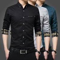 Wholesale Spring young men s shirts long sleeved shirt Slim cotton business casual fashion solid color shirt M XL