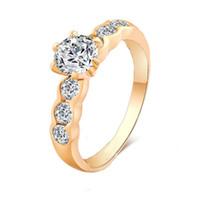 achat en gros de anneau de définition-12Pcs / Lot Gros Femmes Classique Prong Définition CZ Diamant Bague De Mariage 18K Real Rose Or Blanc Plaqué Anneaux En Gros