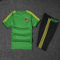 ac suits - AC soccer jerseys football shirts green kit uniform de foot maillot best quality training suit adult sets Milan