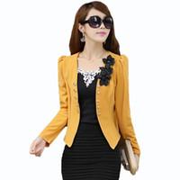 al por mayor talla xl para mujer chaquetas-Blazers y chaquetas de las mujeres 2015 más tamaño 5XL Blazers del juego de las señoras Blazer de Feminino Blazer de las mujeres amarillas / blancas / negras / rosadas Hembra