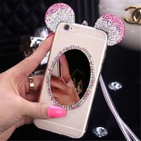 ear covers - New Luxury D Diamond Mirror Glitter Mickey Minnie Ears Rhinestone TPU Phone Cases Cover For iPhone G S G S Plus