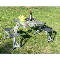 Wholesale New Outdoor Portable Folding Aluminum Picnic Table Seats Chairs Camping w Case