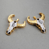 carved ox bone - Natural Ox Bone Carved Cow Head Design Titanium Pendant Connector Charm Bead Gold Plated handcraft jewelry Accessories G0526
