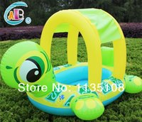 Wholesale swimming laps Hot sale Crab Pattern Baby Kids Swimming ring float Inflatable Boat Ring wtth shade cover