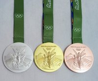 Wholesale Rio Olympic Gold Silver Bronze Medals Ribbons Full Set With Silk RIBBONS Diameter mm Net Weight g New