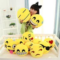 Wholesale 16 styles Diameter Cushion Cute Lovely Emoji Smiley Pillows Cartoon Cushion Pillows Yellow Round Pillow Stuffed Plush Toy