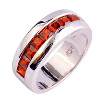 Wholesale Factory Direct Selling Jewelry Red Garnet K White Gold Plated Silver Fashion Ring Size For