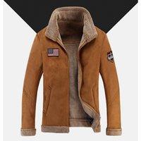 Wholesale Camel Color Winter Coat Men - New Men Suede Leather Jackets Winter Fur Coats Size M-4XL Vintage Camel   Coffee Man Wool Outerwear Warm Fleece Lining