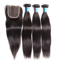 Wholesale Peruvian Virgin Hair Silky Straight With Closure A Unprocessed Human Hair Weaves Bundles with Three Part Lace Closure Hair Products