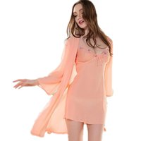 2pcs Robe Sets Spring Summer Pijama Dress Temptation Señoras encantadoras Sling Nighgown Sexy Seda Nightdress Lace Pijamas
