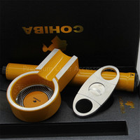 box cutter - COHIBA Classic Yellow Color Portable Metal Cigar Ashtray Tube and Steel Cigar Cutter Gift Set with Gift Box Packing