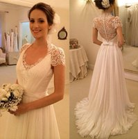 accent cover - Elegant A Line Wedding Dresses with Short Sleeve Lace Accents Sheer Back Covered Button Bridal Gowns Vestido de Novia
