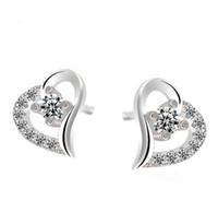 austrian crystal ornaments - Big Heart Stud Earrings Austrian Crystal Ear Jewelry Bohemian Women Wedding Stud Earrings Fashion Ornaments Brand New
