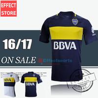 2016 camisetas de fútbol Boca Juniors Local Visitante 3ª negro 2016 Boca Juniors maillot de pie camiseta de fútbol de la calidad superior de Tailandia CARLITOS Uniformes