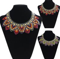 Wholesale New European American Fashion Bohemia Style Collar Necklace Handmade Beads Embroidery Pendant Necklace For Women Party Gift