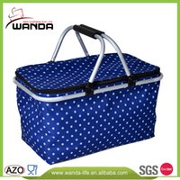 aluminum polyester foil - 600D Polyester Outdoor Collapsible Picnic Cooler Basket Aluminum Frame Aluminum Foil Cooler Basket for Family Outdoor Picnic