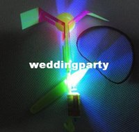 Wholesale led Flying Umbrella rubber band helicopter shone magic arrows flying saucer parachute Kids toys