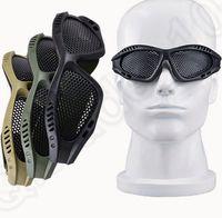 Wholesale 6 color LJJK315 Tactical Mesh Goggles Elastic Band Glasses Adjustable Airsoft Paintball CS Eyewear Metal Mesh Eyes Protection Mesh Glasses