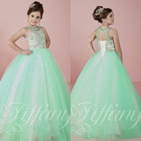 Wholesale 2016 Beautifl Mint Green Girls Pageant Dresses for Teens Princess Ball Gowns Beaded Crystal Girls Pageant Prom Gowns