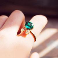 aquamarine diamond ring - Min order is mix order Christmas Fashion Aquamarine Simulated Diamond Gemstone Rabbit Ring K
