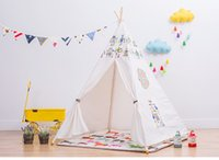 Wholesale Four Poles Indian Play Tent Patchwork Children Teepees Kids Tipi Tent Cotton Canvas Teepee robot Play House for Baby Room