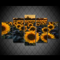 artist canvas for sale - 5 Set HD Printed Sunflower Field In Evening Painting Canvas Print room decor print poster picture canvas artists paintings for sale