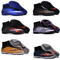 Wholesale 2016 New kids soccer shoes high top shoes Boots Hot Sale women s Futsal grass nail soccer shoes MercurialX Proximo Street TF