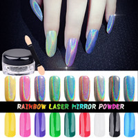 art mirrors - Holo Pure Silver Nail Chrome Pigment Shinning Laser Nail Glitter Dust Rainbow nail mirror powder Nail Art Decorations With nail brushes