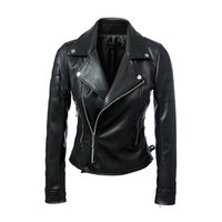 Wholesale 2016 New Fashion Autumn Winter Women Brand Faux Soft Leather Jackets PU Black Zippers Long Sleeve Motorcycle Coat Wholeasle