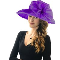 Wholesale 6 Color Lady Wide Brim Hats Net Yarn Wedding Sandy beach Sun Protection sunhat Large brimmed hat